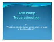 Field Pump Troubleshooting