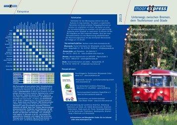 Kurzflyer mit dem Sommerfahrplan für 2013. - Worpswede
