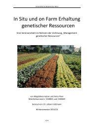 In Situ und on Farm Erhaltung genetischer Ressourcen