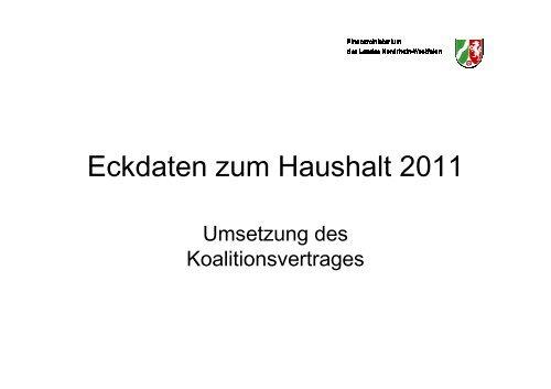 Eckdaten zum Haushalt 2011