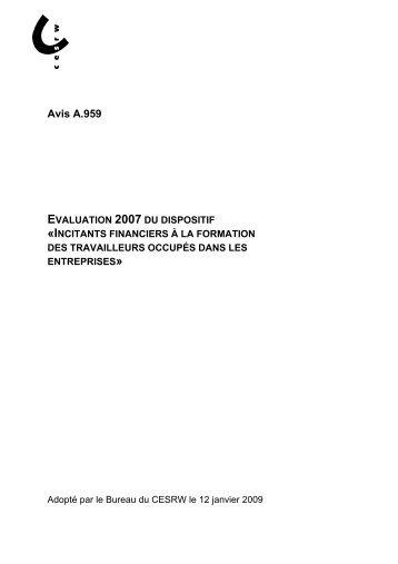Avis A.959 - Conseil économique et social de la région wallonne