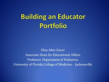 Building an Educator Portfolio - Office of Faculty Affairs ...