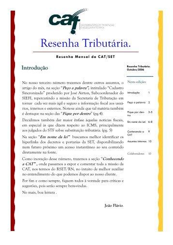 Outubro 2006 - Secretaria de Estado da Tributação
