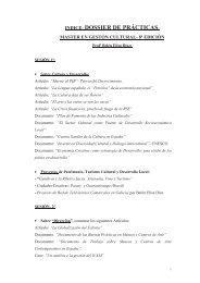 indice dossier de prècticas - Carlos III Máster en Gestión Cultural