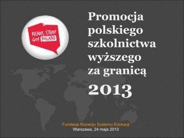 Promocja polskiego szkolnictwa wyższego za granicą 2013 - Erasmus