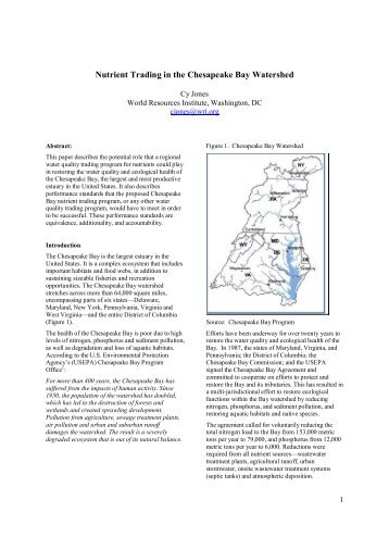 Nutrient Trading in the Chesapeake Bay Watershed