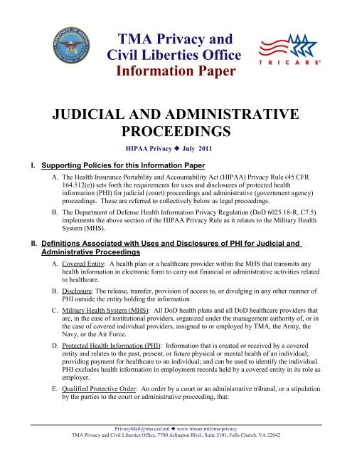 Judicial and Administrative Proceedings - Tricare