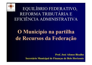 O Município na partilha de Recursos da Federação