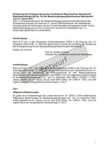 Prüfungsordnung - im Fachbereich Maschinenbau, Mechatronik ...
