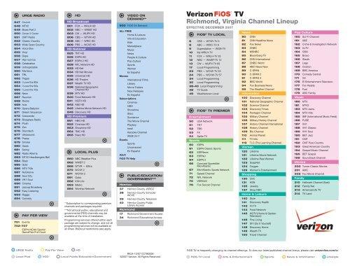 Richmond, Virginia Channel Lineup - Verizon