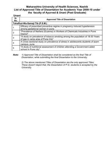 List of Approved Title of Dissertation for Academic Year 2009-10 ...