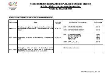 liste des marches conclus en 2011