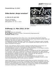 "Eliška Bartek ""Berge versetzen"" Eröffnung: 11. März 2010, 19 Uhr"