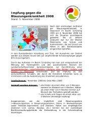 Impfung gegen die Blauzungenkrankheit 2008 - Braunvieh Austria