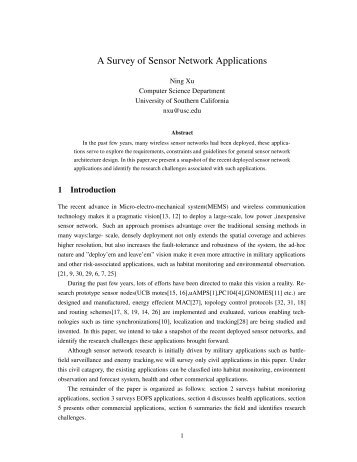 A Survey of Sensor Network Applications - CS Course Webpages
