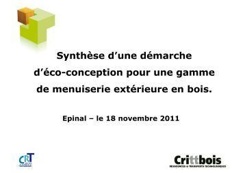 CRITT BOIS - Synthèse éco conception menuiserie 18nov2011