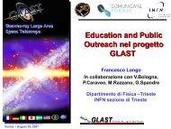 Education and Public Outreach nel progetto GLAST - Comunicare ...