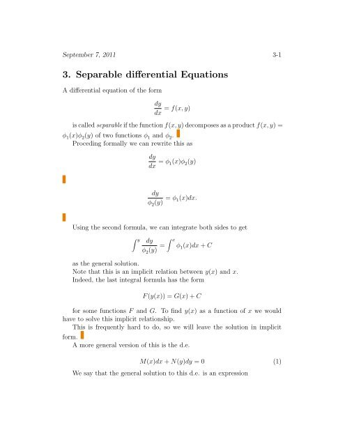 3  Separable Differential Equations and some differences