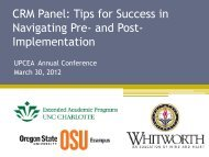 CRM Panel: Tips for Success in Navigating Pre- and Post ... - UPCEA