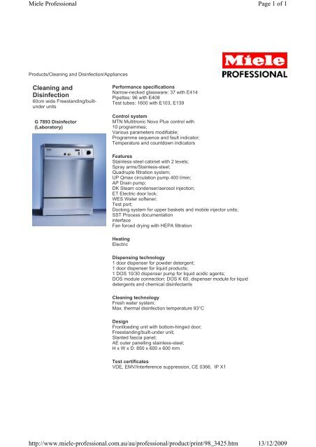 Cleaning and Disinfection Page 1 of 1 Miele Professional 13