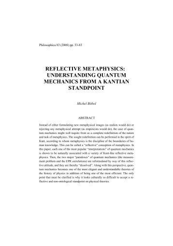 reflective metaphysics - michel bitbol philosophie de la physique