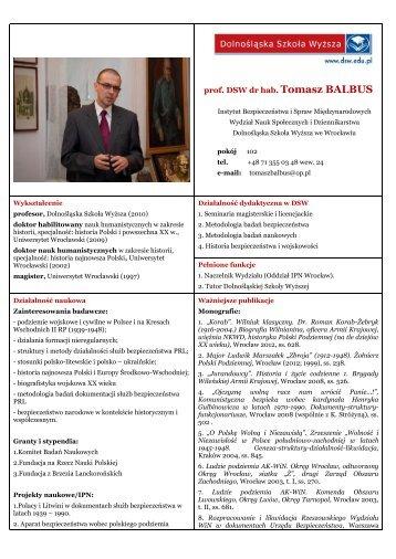prof. DSW dr hab. Tomasz BALBUS - Dolnośląska Szkoła Wyższa