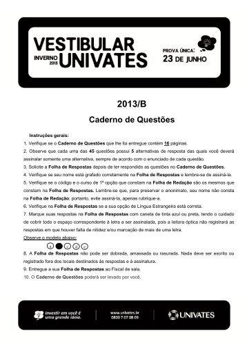 Prova de Espanhol - Univates