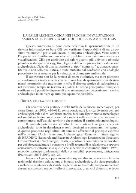 L'ANALISI ARCHEOLOGICA NEI PROCESSI DI VALUTAZIONE ...