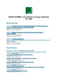 MANN+HUMMEL China Media Coverage Highlights Oct 2009