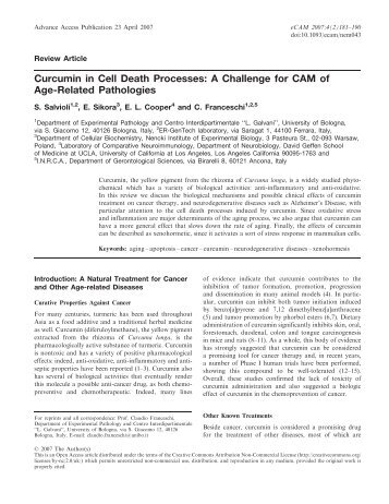 Curcumin in Cell Death Processes: A Challenge for CAM of Age ...
