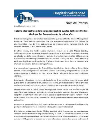 Sistema Metropolitano de la Solidaridad reabrió puertas del Centro ...