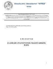 uputstvo za izradu znanstvenog magistarskog rada -
