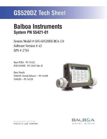 55421-01, GS5-GS520DZ-RCA-3.0 - Balboa Direct