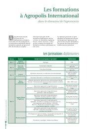 Les formations à Agropolis International
