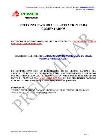 Pre-Convocatoria de vehiculos de izaje guas hidraulicas - Pemex ...