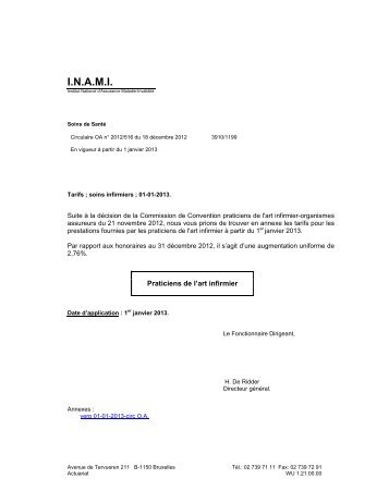 Tarifs des Praticiens de l'art infirmier – A partir du 01/01/2013 - Inami