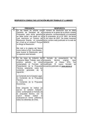 RESPUESTA CONSULTAS LICITACIÓN MEJOR TRABAJO ... - Sence
