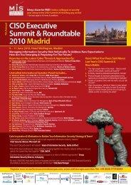 CISO Executive Summit & Roundtable 2010 Madrid - MIS Training