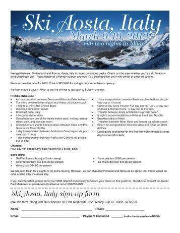 Ski Aosta, Italy - Bogus Basin Ski Club