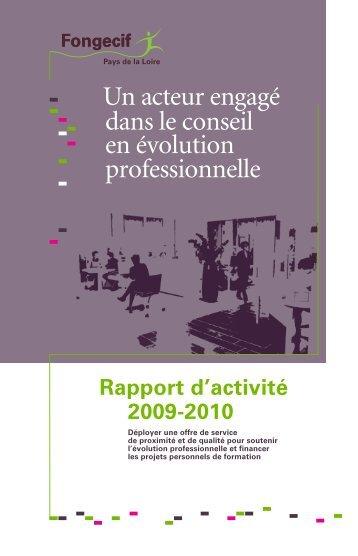 Rapport d'activité 2009-2010 - Fongecif Pays de la Loire