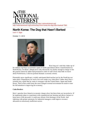North Korea: The Dog that Hasn't Barked - National Committee on ...