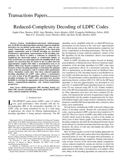 Reduced-Complexity Decoding of LDPC Codes - Department of ...