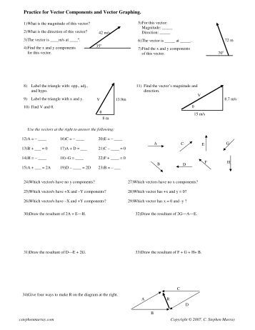 physics 12 vectors worksheet 1 label each mbourget. Black Bedroom Furniture Sets. Home Design Ideas