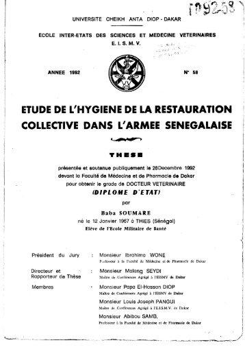 Etude de l'hygiène de la restauration collective dans l'armée ... - BEEP