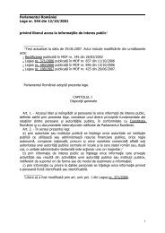Parlamentul României Lege nr. 544 din 12/10/2001 privind liberul ...
