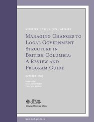 Managing Changes to Local Government Structure in British Columbia