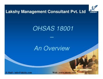 OHSAS 18001 awareness presentation - Lakshy