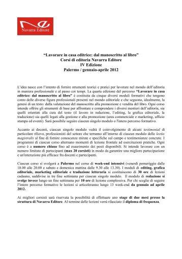 Corsi di editoria Navarra Editore - Palermo - Centro Studi e Ricerche ...