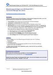 Bewerbungsunterlagen zum CAt-Award 2011 ... - Callcenter-Profi