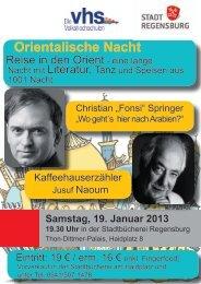 Orientalische Nacht - Volkshochschule der Stadt Regensburg